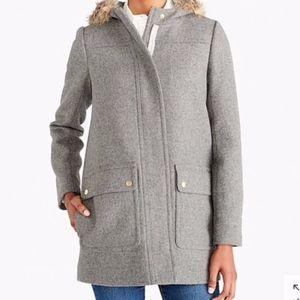 J. Crew | Grey Wool Parka with Faux Fur Trim Hood
